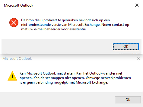 Outlook 2016 refuses to connect to Exchange Server 2007